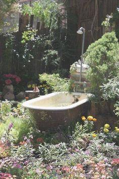 creative use of antique bathtub in garden