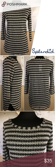 """NWT Splendid Loose Knit Sweater Silver Metallic Very soft, comfortable and stretchy Boat Neck sweater by Splendid. NWT $98. Silver black stripes with Metallic shimmer. Size Medium. 3/4 sleeves. Measurements: armpit to armpit - 19"""", length - 29"""", sleeve - 18 1/2"""". Splendid Sweaters Crew & Scoop Necks"""