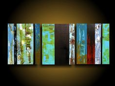 Large Abstract Painting / Modern Painting / Contemporary Painting / Abstract Art / 20 x 48 Art Artwork Mustard Blue Green The Raw Canvas    ORIGINAL