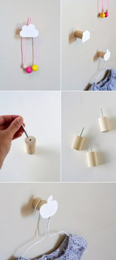 DIY Wall Hooks by Ambrosia Creative. Not really a tutorial. Use wooden dowel wall hooks, either pre made or make your own as seen here, then make DIY funky ends with shrink plastic. Diy Wall Hooks, Decorative Wall Hooks, Diy Hangers, Entryway Hooks, Wall Hanger, Diy Wand, Diy Projects To Try, Craft Projects, Backyard Projects
