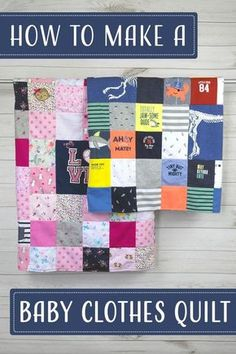 Looking for a DIY baby clothes quilt pattern? Wonder how to make a baby clothes memory quilt? Check out our DIY baby quilt tutorials, kit, books and videos! Modern Baby Clothes, Sewing Baby Clothes, Baby Clothes Patterns, Cute Baby Clothes, Baby Sewing, Diy Clothes, Clothes Sale, Making Clothes, Summer Clothes