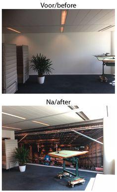 #wanddecoratie #hangar #interieur #inrichting #signing reclame #blsreclame