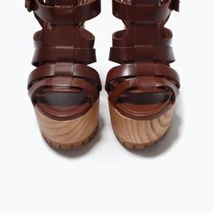 ZARA - WOMAN - LEATHER SANDAL WITH TRACK HEEL