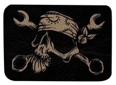 Mechanic by David Lozeau Leather Patch Bandana Skull Wrenches Tattoo Applique