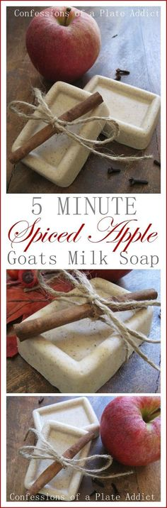 CONFESSIONS OF A PLATE ADDICT Five Minute Spiced Apple Goats Milk Soap #naturalsoapmaking