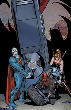 """Black Mask and Red Hood go toe-to-toe beneath One Police Plaza, while above them Bizarro and Artemis clash in a battle of titanic proportion! The finale to """"Dark Trinity"""" is Artemis, Redhood And The Outlaws, Star Trek, Red Hood Jason Todd, Midtown Comics, Univers Dc, Comic Manga, Batman Beyond, Batman Family"""