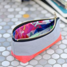 DIY Neon Painted Pencil Case - Dear Handmade Life