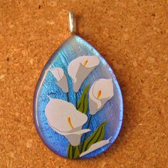 Dichroic Glass Pendant Calla Lilly Pendant Fused by GlassMystique, $25.00