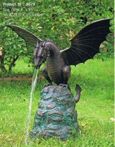 "Bronze Dragon Fountain - I wonder why people still make the ""dragon puking"" fountains. it's not like dragons stay plastered all the time. Fantasy Creatures, Mythical Creatures, Dragon Garden, Dragons, Bronze Dragon, Dragon's Lair, Dragon Statue, Fantasy Dragon, Yard Art"