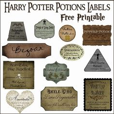 Halloween Decor: Harry Potter Potion Bottles | Over The Big Moon DIY apothecary Bottles with free labels...meg!! Lol