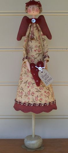 Country Keepsake Dolls: Hugs and Kisses Angel Christmas Wood, Christmas Angels, Christmas Ornaments, July Crafts, Holiday Crafts, Patriotic Crafts, Patriotic Party, Hot Dog Bar, Angel Crafts