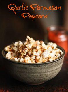 Garlic Parmesan Popcorn! Great healthy snack that will change up the regular popcorn recipe | bon bon break