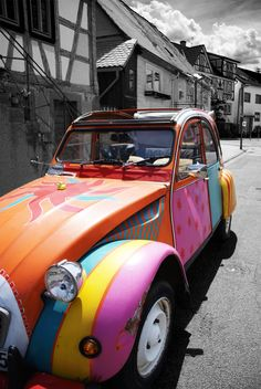 """a car with flower-power. by ~Sanyai90""... it's a deux chevaux frenchmobile!! ~✿~ peace ☮ love ♥ tea ~✿~"