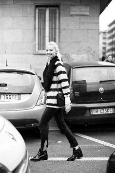 Sasha Luss during Milan Fall/Winter Fashion Week 2014.
