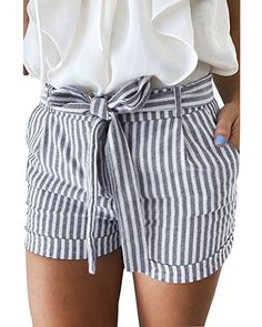 GAMISOTE Women Summer Striped Shorts Casual Hot Pants with Belt