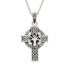 """Stunning Men's Heavy Celtic Cross in sterling silver. This cross is embellished with the Tree of Life and Celtic knots with a heavy masculine feel. The Cross measures 1 1/4"""" tall Presented with an 18"""" sterling silver chain and is wonderfully boxed for gift giving. Handmade in Ireland by artisan jewelers and hallmarked at the Assay office in Dublin Castle. Crosses are a powerful symbol of faith, and this one is boldly engraved with Celtic knot-work symbolizing eternal life and endless love. The o Old Symbols, Tree Of Life Jewelry, Irish Jewelry, Bridal Rings, Cross Pendant, Sterling Silver Chains, Jewelry Crafts, Gifts For Him, Jewelry Design"""