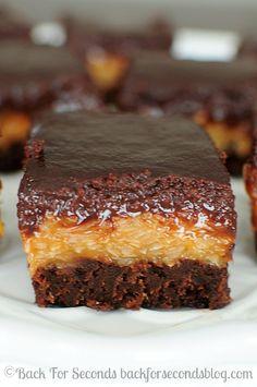 German Chocolate Brownies - Every time I make these, I love them more! http://backforsecondsblog.com #samoas #brownierecipe #dessert