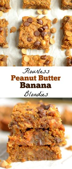 Flourless Peanut Butter Banana Blondies are so gooey and delicious! You would never know that they are good for you! Also gluten-free, vegan with a paleo option!
