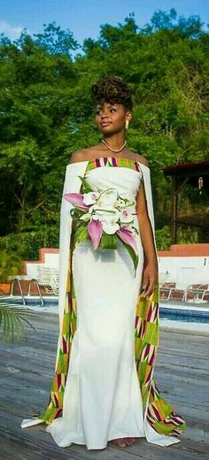 african print dresses African print dresses can be styled in a plethora of ways. Ankara, Kente, & Dashiki are well known prints. See over 50 of the best African print dresses. African Wedding Dress, African Print Dresses, African Dress, African Weddings, African Prints, Ghana Wedding Dress, African Attire, African Wear, African Women