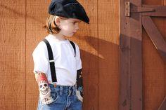Tattoo sleeves kids white t-shirt, pirate theme. $17.00, via Etsy.