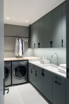 Laundry Room Remodel, Laundry Room Cabinets, Laundry Room Organization, Diy Cabinets, Green Cabinets, Organization Ideas, Storage Ideas, Basement Laundry, Bathroom Laundry
