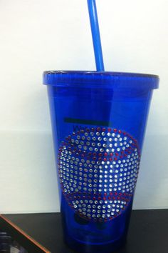 Rhinestone Baseball Insulated Cup by MariasBlingNThings on Etsy, $13.00