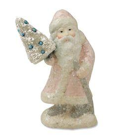 Pastel Santa With Tree | Bethany Lowe Pink Santa Claus | Pastel Christmas Decorations