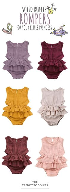 UP TO 70% OFF + FREE SHIPPING! Shop our entire collection of baby & toddler boy shorts at thetrendytoddlers.com. Baby Dress, Baby Girl Dresses, Girl Outfits, Die Kleinen, Ruffle Romper, Baby Girls Clothes, Baby Girl Fashion, Kids Wear, Toddler Boys