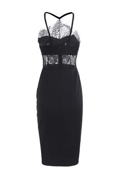 Fashion Spaghetti Strap Bodycon See-Through Dress For Women in Black | Sammydress.com
