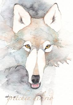 WOLF ACEO watercolor giclee PRINT totem by Whitedogwatercolours