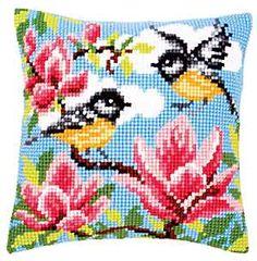 Blue Tits Cross Stitch Cushion Kit By Vervaco