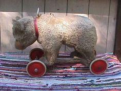 Antique-1940s-STEIFF-Stuffed-Ride-On-Bear-Toy-w-Growler-Pull-String