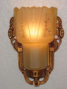 Vintage Lightolier wall sconce light fixture with Consolidated Glass Shades. 1930s.