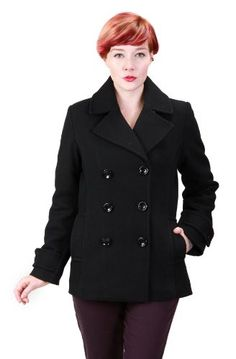 Ramonti Womens Double Breasted Black Wool Pea Coat $119.99 #bestseller