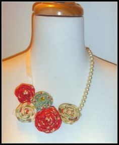 Rolled Fabric necklace
