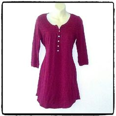H&M TUNIC LENGTH PEASANT TOP 3/4 length sleeves. Buttons and cute details at the neckline. The color is dark red . Excellent like new condition. H&M Tops Tunics