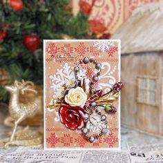 Christmas card - red and craft