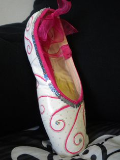 Decorated Pointe Shoe: White with Pink Swirls by ThePointeofBallet on Etsy