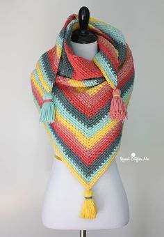 Crochet Caron Big Cakes Moss Stitch Shawl - Repeat Crafter Me - Free Pattern.  Great rows of bright, coordinating colors with fancy tassels.