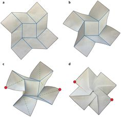 The folding of origami structures involves bending deformations that are not explicit in the crease pattern. Origami Design, Origami Paper Art, Diy Paper, Envelope Origami, Folding Structure, Origami Modular, Paper Architecture, Christmas Paper Crafts, Cardboard Paper