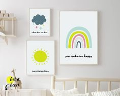 """Rainbow nursery wall decor & sunshine nursery theme ideas from Sunny and Pretty. The sweetest """"My only sunshine"""" prints nursery quotes to encourage your little one. Nursery art and nursery prints to complete your nursery decor project. Our nursery wall art is made with love and is designed to reflect your nursery wall decor style. 🖤 Get excited about decorating for your little one! #sunnyandpretty Nursery Artwork, Nursery Paintings, Nursery Wall Decor, Nursery Prints, Nursery Décor, Baby Decor, Bedroom Decor, Rainbow Nursery Decor, Girl Nursery Themes"""