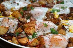 Potato, Caramelized Onion, and Roasted Red Pepper Hash with Baked Eggs  There's nothing better in the morning than a good hash, you'll definitely want to try this one! This recipe uses our Tuscan Herb Infused EVOO, a customer favourite. Check it out!