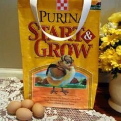 Yellow Chick Start & Grow Handmade Reusable Upcycled Eco-friendly Market Feed Tote Shopping Bag