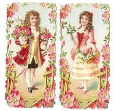 Victorian Die Cut Scrap Courtly Courting Couple Roses Pink Scrapbook Craft Art | eBay Cute Love Memes, Love Frames, Spring Shower, Craft Art, Animals For Kids, Vintage Images, Collages, Showers, Decals
