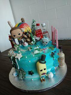 Rick n Morty cake adventure Pocky captain Morgan rumchata alcohol candy cake lollipop chocolate