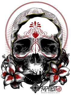 Misguided Passion by David Medrano, Day of the Dead Skull, illustration.