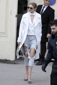 Gigi Hadid wearing Illesteva Milan IV Sunglasses, One Teaspoon Kingpins Jeans in Diamonde, Karl Lagerfeld Robot Clutch, A.L.C. Resort 2016 Richard Coat and Saint Laurent Paris Suede Pumps