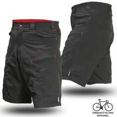 Mountain Bike Cargo Shorts with secure pockets and dry-fast wicking (Large, WITH Premium Antibacterial G-Tex Padded Undershorts)