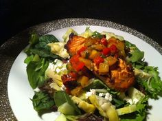 Grilled Salmon, Miixed Greens, Artichoke Hearts, Feta w Grilled Pinapple Salsa… Who said you can't get creative with leftovers!