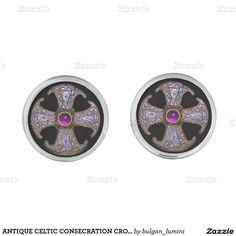 ANTIQUE CELTIC CONSECRATION CROSS Purple Gemstones Cufflinks